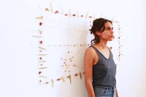 Artist Katie West with her artwork Decolonist for the Next Wave Festival 2016.