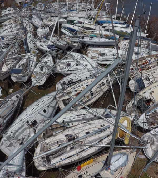 Boats piled up at Nanny Cay.