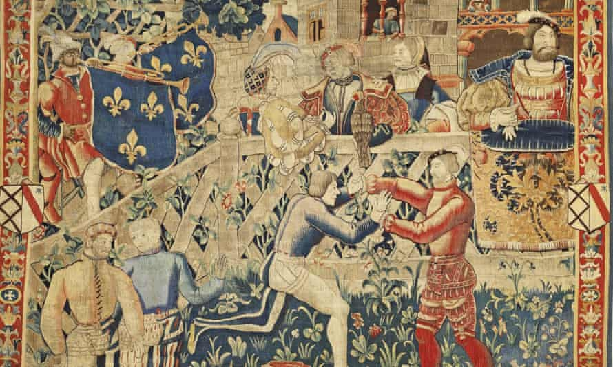 A black trumpeter in a detail of a tapestry, 1520