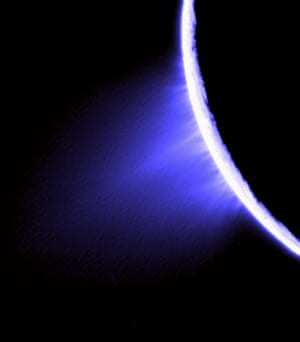 27 November 2005 Huge jets spurting out ice particles, water vapour and trace organic compounds from the surface of Saturn's moon Enceladus. There are eight source locations for these jets, all on the prominent 'tiger stripe' fractures, or sulci, in the moon's south polar region. This false-colour view was created by combining three clear filter images. The resulting image was then specially processed to enhance the individual jets that compose the plume.