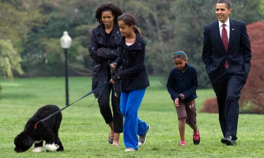 The Obamas with Michelle's dog Bo
