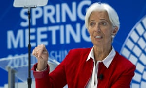 Christine Lagarde, head of the IMF, speaking in Washington on Thursday.