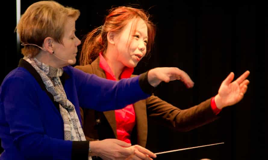 Marin Alsop and CJ Wu at the SBC conducting workshop in January 2017