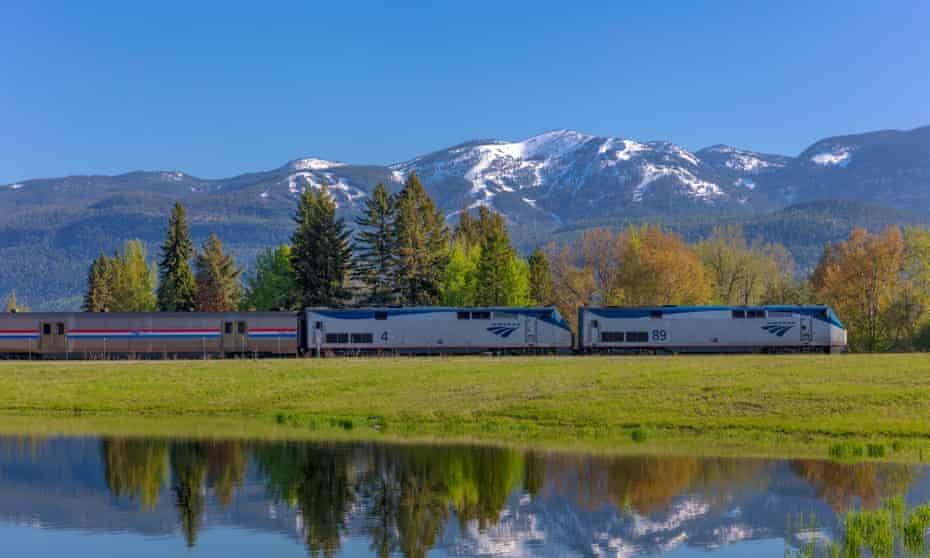 An Empire Builder train nears Whitefish, Montana.