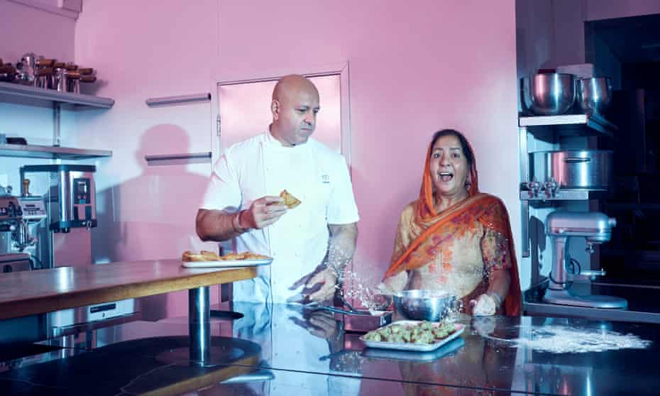 Sat Bains and his mother Tarsem in the kitchen of Restaurant Sat Bains, Nottingham