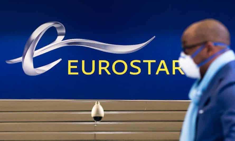 A passenger arrives at the Eurostar departure terminal at St Pancras Station