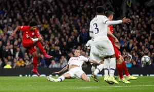 Bayern Munich's Serge Gnabry scores their third goal.