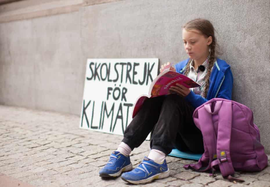 Greta Thunberg outside the Swedish parliament in Stockholm, August 2018