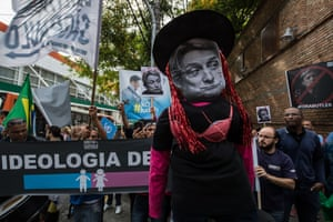 Protests in São Paulo against the visit of US academic on gender Judith Butler to Brazil.