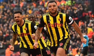 Troy Deeney celebrates his equaliser from the penalty spot against Wolves in the FA Cup semi-final at Wembley.