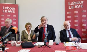 John Mills, third from left, at a meeting of the Labour Leave referendum campaign group, with Kate Hoey, second left.