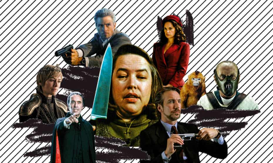 Mad, bad and dangerous to know … Misery's Annie Wilkes (centre) and (clockwise from bottom left) Dracula; Cersei Lannister; Tom Cruise in Collateral; His Dark Materials' Mrs Coulter; Hannibal Lecter; Hans Gruber.