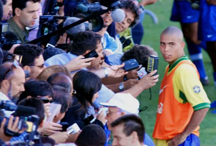 Ronaldo answers reporters' questions after a training session in Toulon before their semi-final.