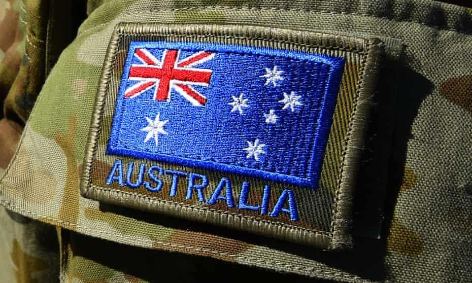 The Australian flag is seen on an Australian Defence Force uniform