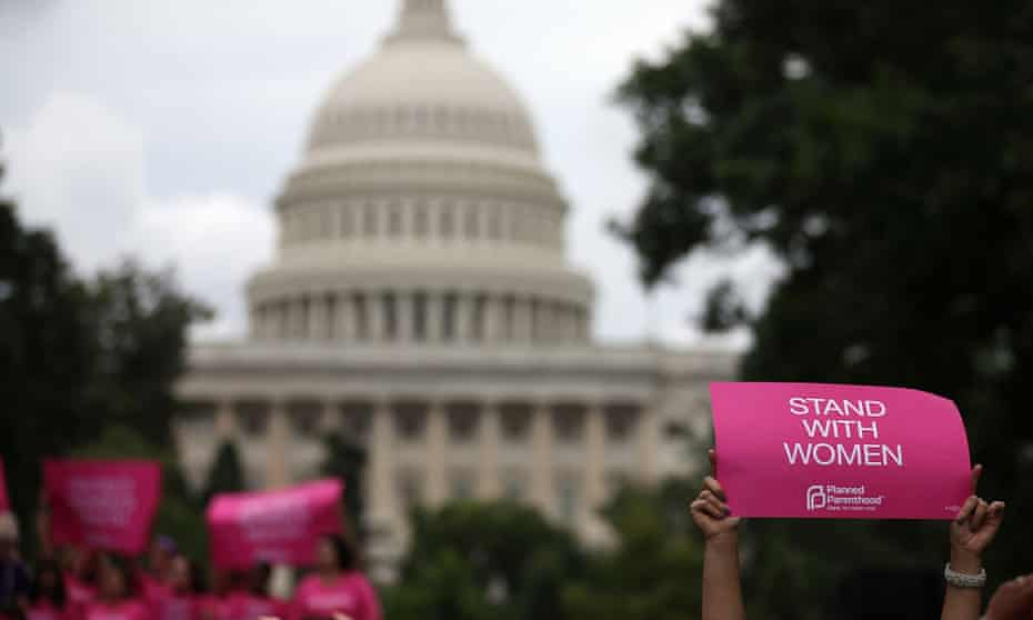 Demonstrators in Washington DC gather on Capitol Hill to urge Congress not to pass legislation limiting access to safe and legal abortion