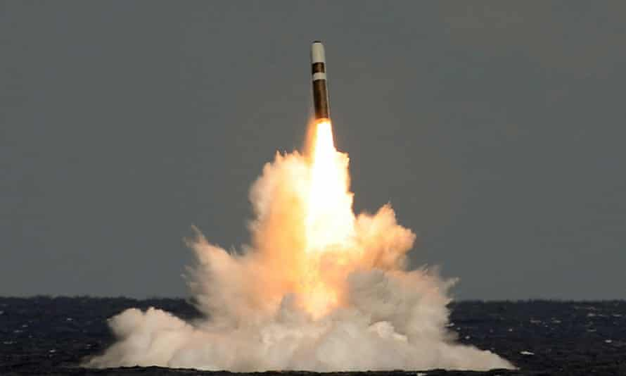 An unarmed Trident missile is fired from HMS Vigilant.