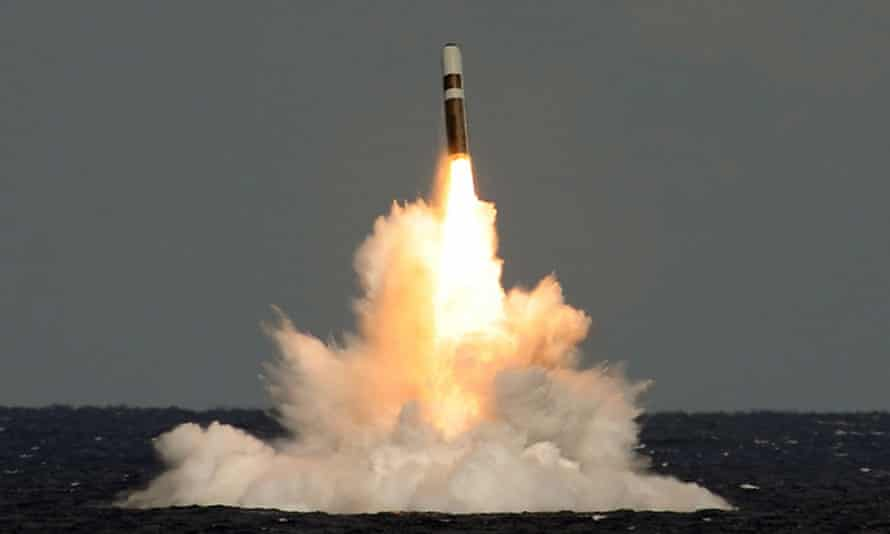 An unarmed Trident missile fired from HMS Vigilant.