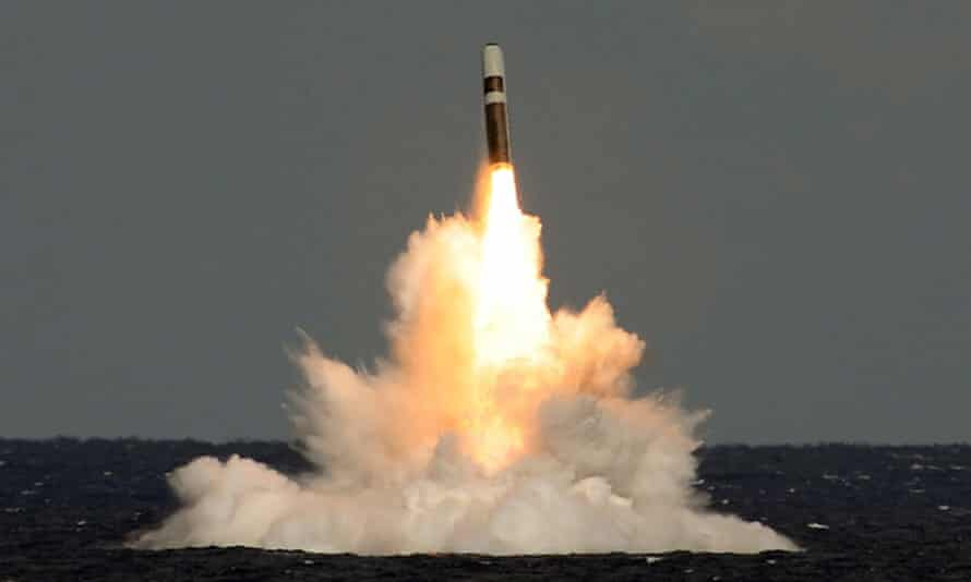 'Instead of using precious funds for positive purposes, it squanders them on weapons of mass destruction that are inherently immoral.' An unarmed Trident missile is fired from HMS Vigilant.