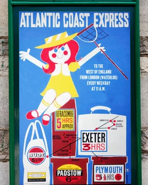 Old 50s-style British Railways poster for the Atlantic Coast Express on the Swanage steam railway