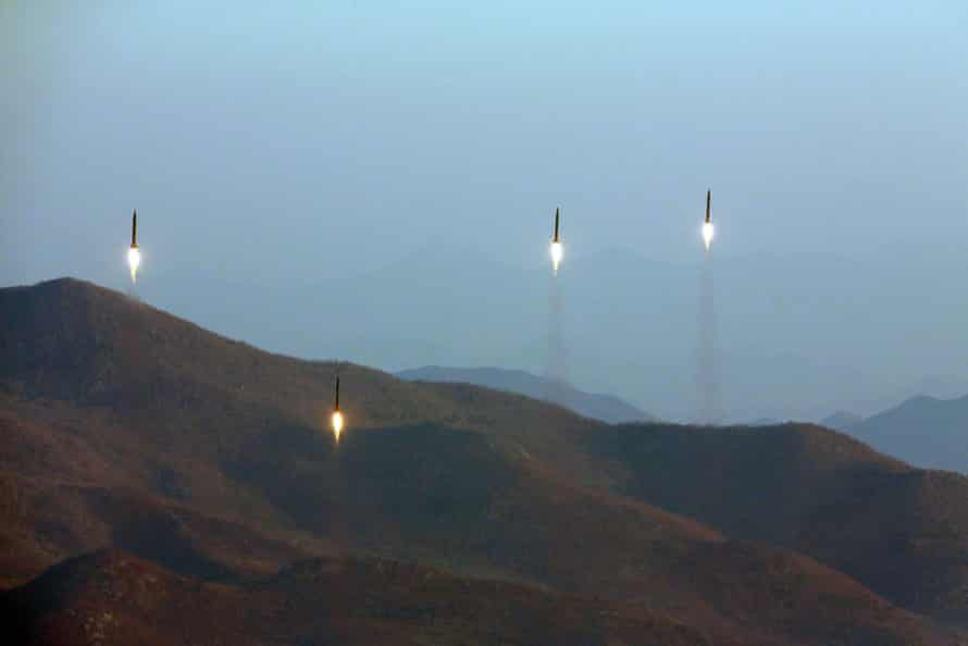 A photo made available by the state news agency of North Korea shows a ballistic rocket launch.