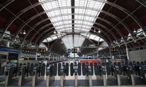 Closed gates at Paddington station