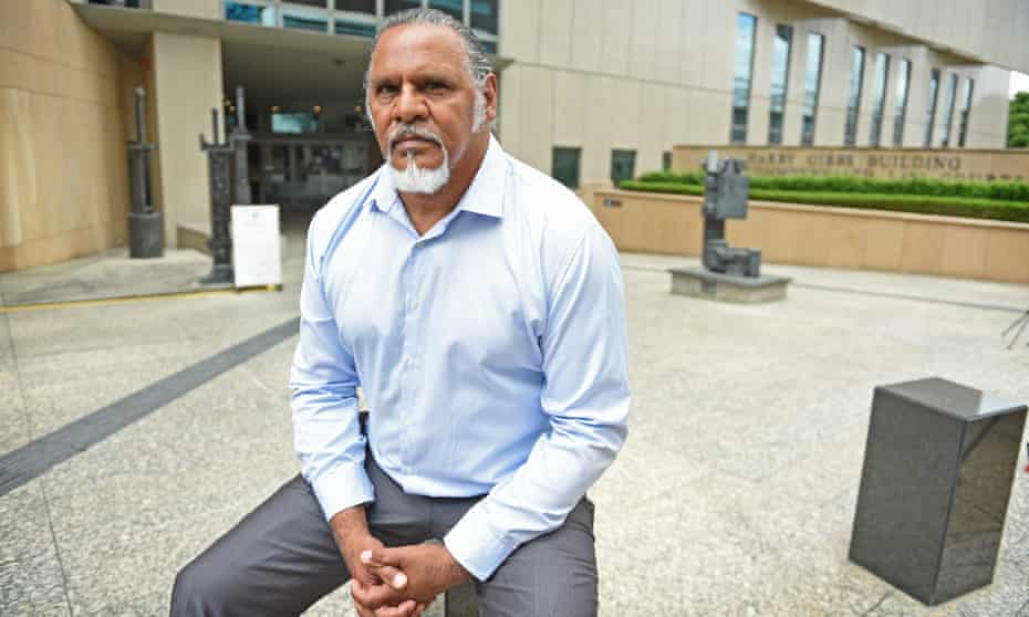 Adrian Burragubba, spokesman for the Wangan and Jagalingou (W&J) Traditional Owners'€™ Council, outside the Federal Court in Brisbane in Noevmber 2015.