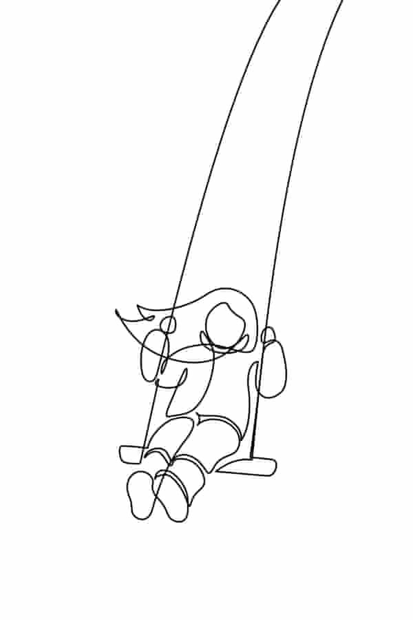 Child on a swing in continuous line art drawing style.