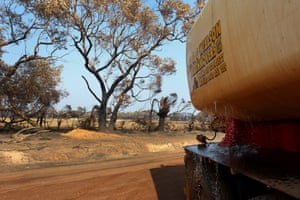 A water truck delivers water in the Parndana region of fire-ravaged Kangaroo Island on Wednesday. Bushfires continue to burn on the island.