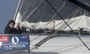 Jean Le Cam aboard Yes We Cam! before the start of the Vendée Globe in Les Sables-d'Olonne on 8 November.