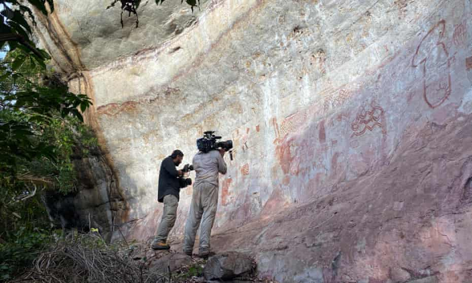 The paintings are being filmed for a major Channel 4 series, Jungle Mystery: Lost Kingdoms of the Amazon.