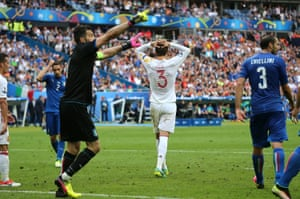 Gerard Pique reacts after Gianluigi Buffon's fine save.