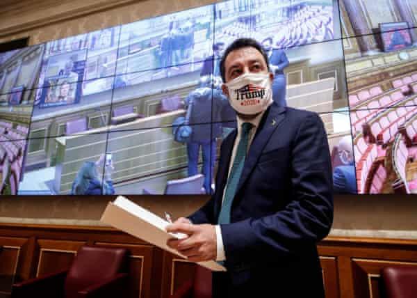 Matteo Salvini wearing a 'Trump 2020' face mask in Rome.