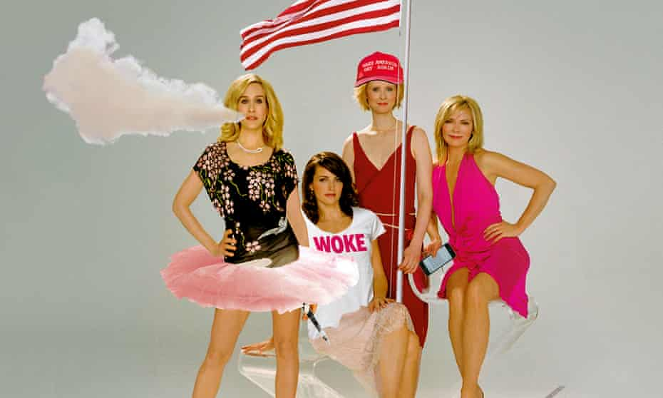Sarah Jessica Parker, Kristin Davis, Cynthia Nixon and Kim Cattrall as their Sex and the City characters.