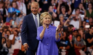 Democratic presidential nominee Hillary Clinton arrives at a campaign rally on Monday as vice-president Joe Biden makes his debut on the campaign trail in Scranton, Pennsylvania.