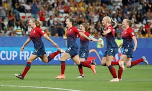 Norway celebrate after winning the penalty shootout.