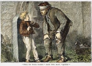 A 19th-century wood engraving of Pip's first meeting with the convict Abel Magwitch.