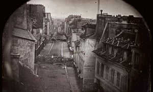 Daguerreotype image showing the rue St Maur in Paris during the revolts of 25 and 26 June 25 1848.