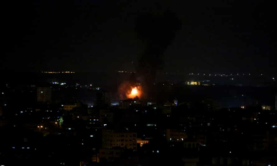 Smoke and flames rise after Israeli war planes carried out airstrikes over Gaza city