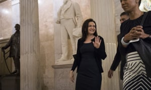 Sheryl Sandberg at the US Capitol. She has said of the thousands of political ads paid for by a Russian entity: 'We're going to be fully transparent.""