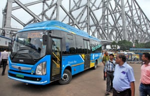 An electric bus in Kolkata, India