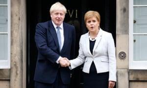 Nicola Sturgeon welcomes Boris Johnson outside Bute House, Edinburgh, in July.
