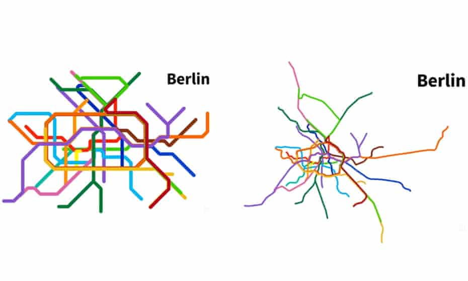 Berlin: metro map v real-life geography.