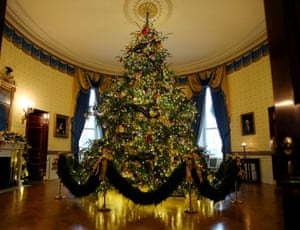 The official White House Christmas tree in the Blue Room in 2018.