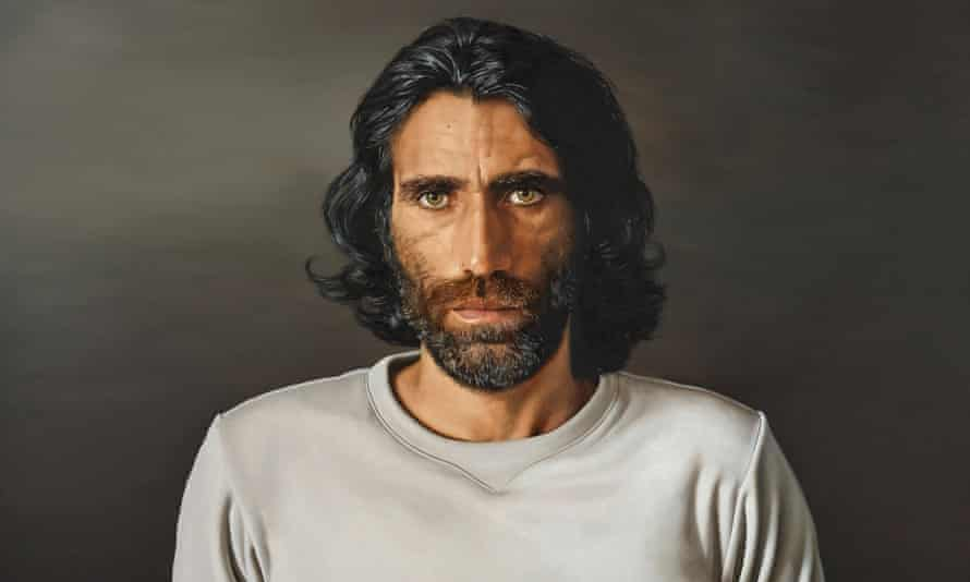 The Archibald Prize 2020 winner of the People's Choice 2020 a portrait of Kurdish refugee and writer Behrouz Boochani by Angus McDonald.