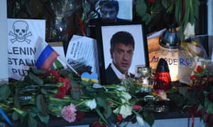 Flowers laid in Warsaw by Russians living in Poland in memory of Boris Nemtsov