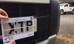 A 'splatometer' is held over a car registration plate in Kent