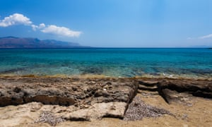 Ancient Greek city ruins of Pavlopetri in Pounda exotic beach in Lakonia, Peloponnese, Greece.