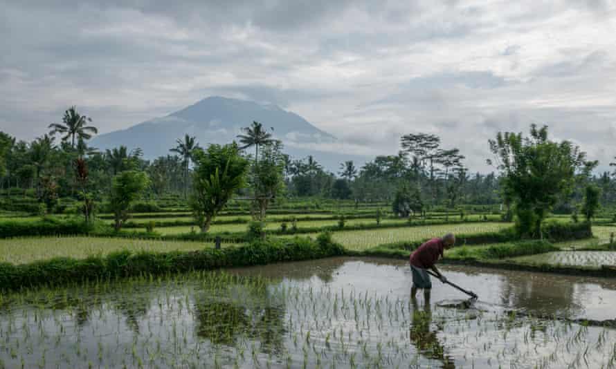 Mount Agung as seen from a nearby village in Karangasem, Bali.
