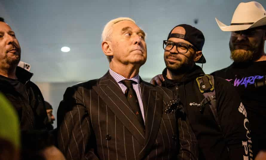 Roger Stone is seen with Proud Boys leader Enrique Tarrio in Washington DC on 11 December 2020.