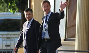 The Italian journalist Stefano Feltri, left, and Dutch prime minister Mark Rutte.